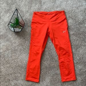 Red/Burnt Orange Nike 3/4 Dri-Fit Leggings